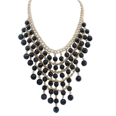 Current Black Beads Decorated Multilayer Design Alloy Bib Necklaces