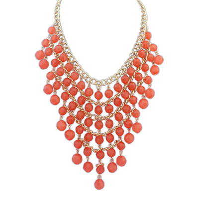 Detachable Orange Beads Decorated Multilayer Design Alloy Bib Necklaces