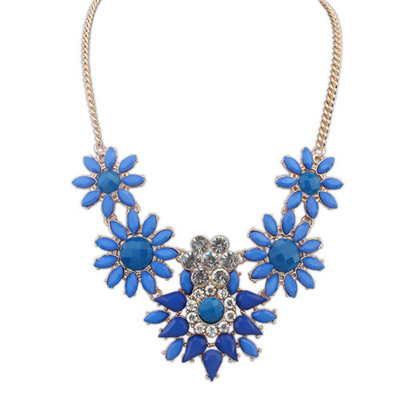Baltic Blue Diamond Decorated Flower Design Alloy Bib Necklaces