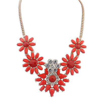 Invitation Red Diamond Decorated Flower Design Alloy Bib Necklaces