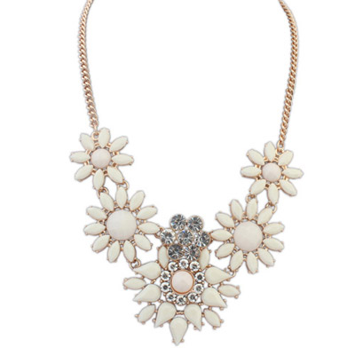Tungsten Beige Diamond Decorated Flower Design Alloy Bib Necklaces