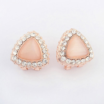 Medieval White Diamond Decorated Triangle Shape Design Alloy Stud Earrings