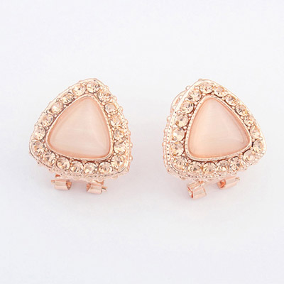 Plaid Peach Diamond Decorated Triangle Shape Design Alloy Stud Earrings