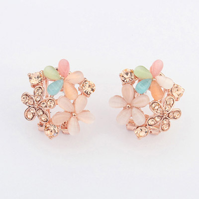 Mexican Multicolor Diamond Decorated Flower Design Alloy Stud Earrings