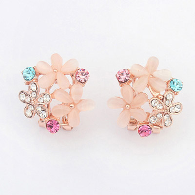 Named White Diamond Decorated Flower Design Alloy Stud Earrings
