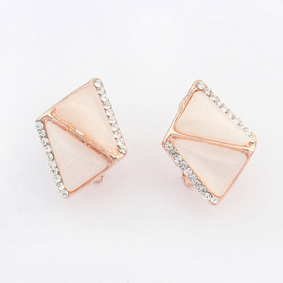 Polaris White Diamond Decorated Triangle Shape Design Alloy Korean Earrings