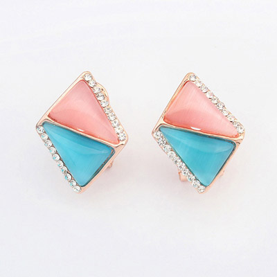 Fantasy Multicolor Diamond Decorated Triangle Shape Design Alloy Korean Earrings