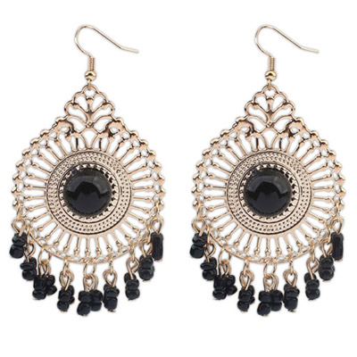Garnet Black Round Shape Tassel Simple Design Alloy Korean Earrings
