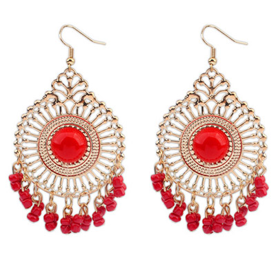 Pendants Red Round Shape Tassel Simple Design Alloy Korean Earrings