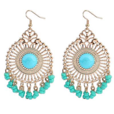 Stationary Light Blue Round Shape Tassel Simple Design Alloy Korean Earrings