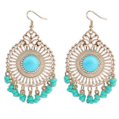 Stationary Light Blue Round Shape Tassel Simple Design Alloy Korean Earrings