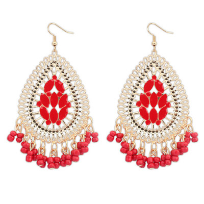 Inexpensiv Red Waterdrop Shape Tassel Simple Design Alloy Korean Earrings
