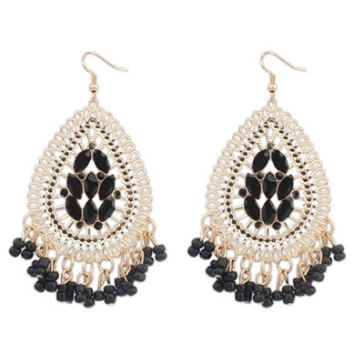 Floral Black Waterdrop Shape Tassel Simple Design Alloy Korean Earrings