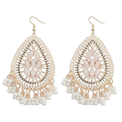 Cargo White Waterdrop Shape Tassel Simple Design Alloy Korean Earrings