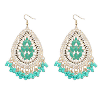 Bridesmaid Green Waterdrop Shape Tassel Simple Design Alloy Korean Earrings