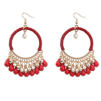 Electronic Red Tassel Decorated Hollow Circle Shape Design Alloy Korean Earrings