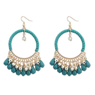 Extreme Green Tassel Decorated Hollow Circle Shape Design Alloy Korean Earrings