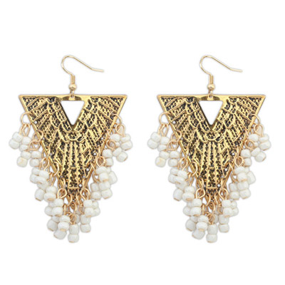Best White Beads Decorated Triangle Shape Design Alloy Korean Earrings