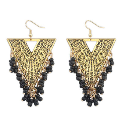 Rave Black Beads Decorated Triangle Shape Design Alloy Korean Earrings