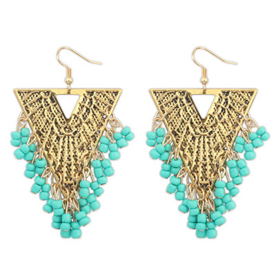 Polaris Green Beads Decorated Triangle Shape Design Alloy Korean Earrings
