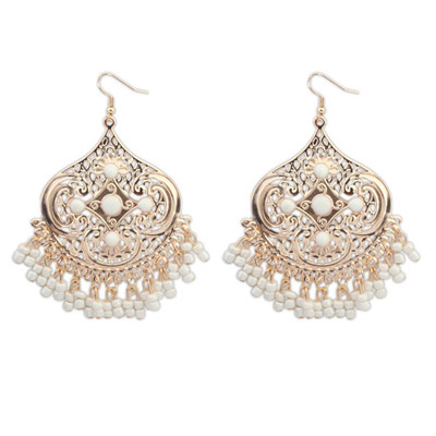 Human White Tassel Decorated Geometrical Shape Design Alloy Korean Earrings