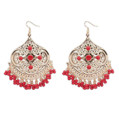 Maternity Red Tassel Decorated Geometrical Shape Design Alloy Korean Earrings