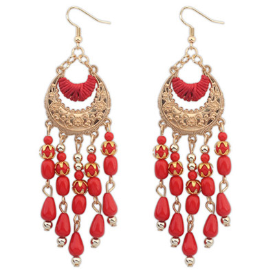 Hemp Red Tassel Decorated Crescent Shape Design Alloy Korean Earrings