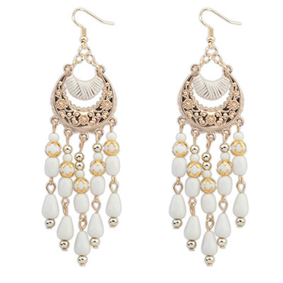 High Waist Beige Tassel Decorated Crescent Shape Design Alloy Korean Earrings