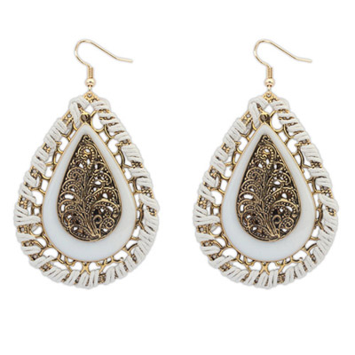 Photograph Beige Waterdrop Shape Decorated Hollow Out Design Alloy Korean Earrings
