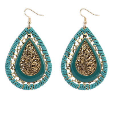 Turkish Green Waterdrop Shape Decorated Hollow Out Design Alloy Korean Earrings
