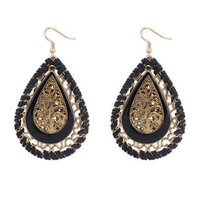 Long Black Waterdrop Shape Decorated Hollow Out Design Alloy Korean Earrings