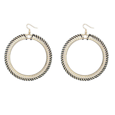 Twilight Black Round Shape Simple Design Alloy Korean Earrings