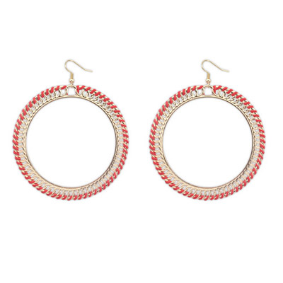 Velvet Red Round Shape Simple Design Alloy Korean Earrings