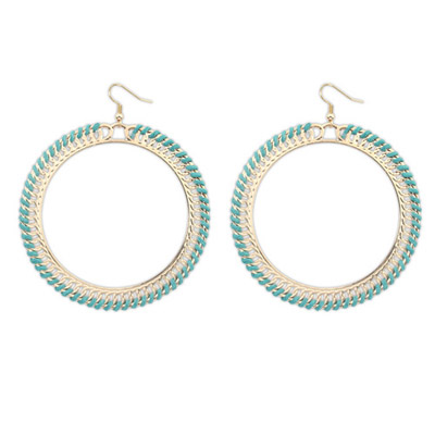 Premier Green Round Shape Simple Design Alloy Korean Earrings