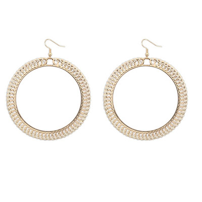 Preppy Beige Round Shape Simple Design Alloy Korean Earrings