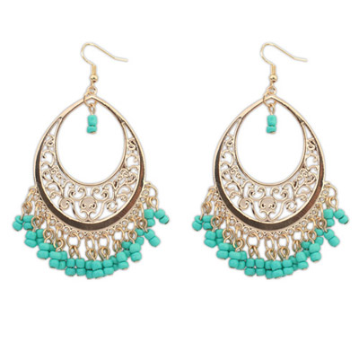 Mobile Green Bead Tassel Decorated Hollow Out Design Alloy Korean Earrings