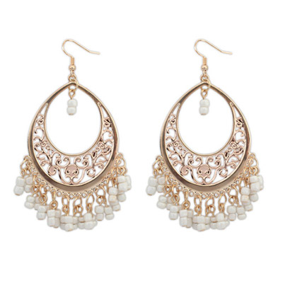Buckle Beige Bead Tassel Decorated Hollow Out Design Alloy Korean Earrings