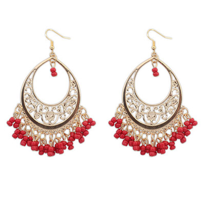 Infinity Red Bead Tassel Decorated Hollow Out Design Alloy Korean Earrings