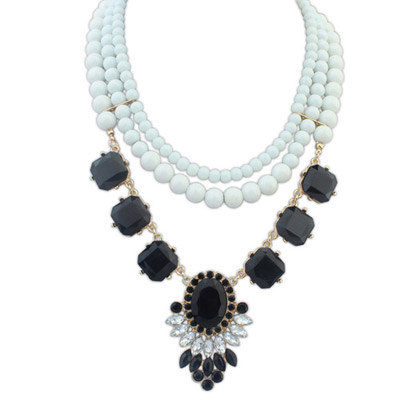 Masculine Black Gemstone Decorated Multilayer Design Alloy Bib Necklaces