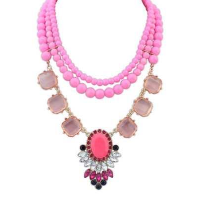 Order Plum Red Gemstone Decorated Multilayer Design Alloy Bib Necklaces