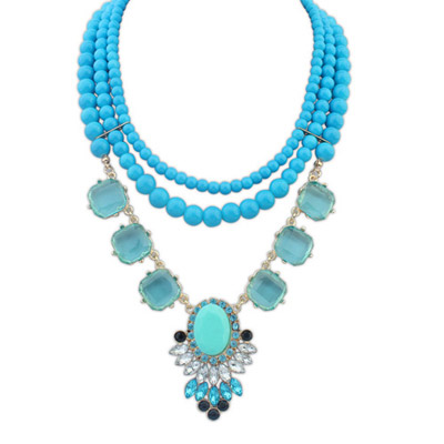 Graduation Blue Gemstone Decorated Multilayer Design Alloy Bib Necklaces