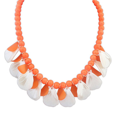 Wrap Orange Beads Decorated Leaf Shape Design Alloy Bib Necklaces