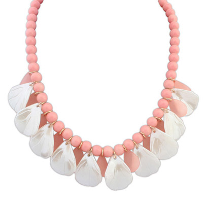 Sample Pink Beads Decorated Leaf Shape Design Alloy Bib Necklaces