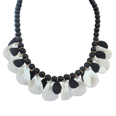 Rubber Black Beads Decorated Leaf Shape Design Alloy Bib Necklaces