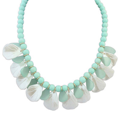 Dash Light Green Beads Decorated Leaf Shape Design Alloy Bib Necklaces