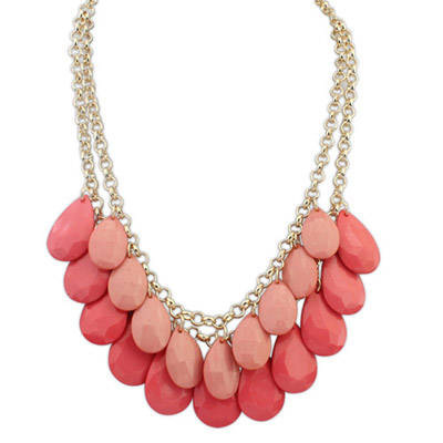 Womens Pink Waterdrop Shape Decorated Simple Design