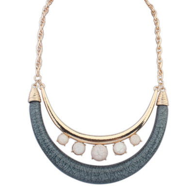 Varsity Gray & White Gemstone Decorated Crescent Shape Design Alloy Bib Necklaces
