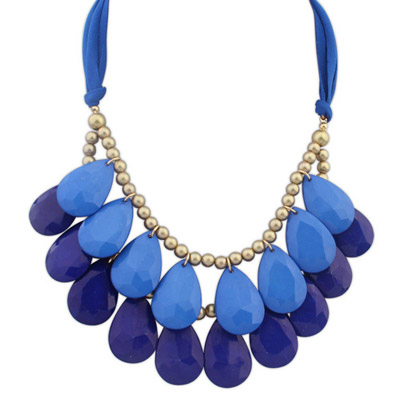 Free Dark Blue & Dark Purple Waterdrop Shape Decorated Double Layer Design Resin Bib Necklaces
