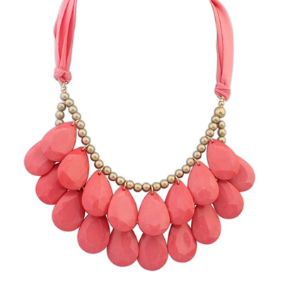 Upper Plum Red Waterdrop Shape Decorated Double Layer Design Resin Bib Necklaces