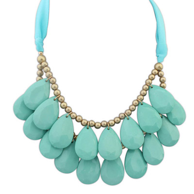 Athletic Light Blue Waterdrop Shape Decorated Double Layer Design Resin Bib Necklaces